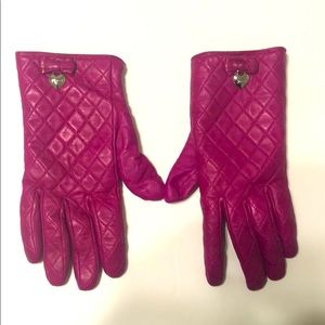 Coach pink leather gloves, bow and heart. Size 8
